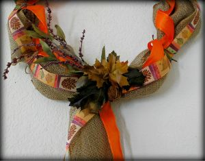 Burlap Wreath Fall Focal by RLC