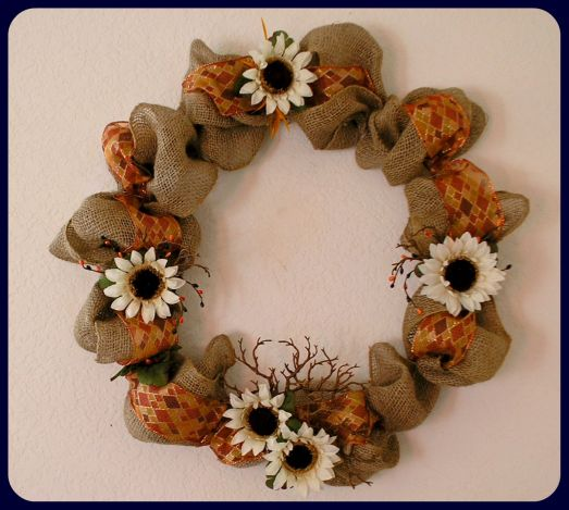 Autumn Burlap Wreath by RLC