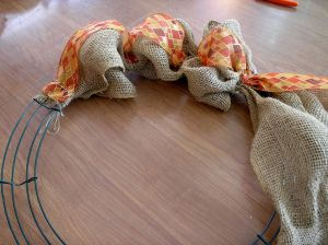 Autumn Burlap Wreath Start rlc